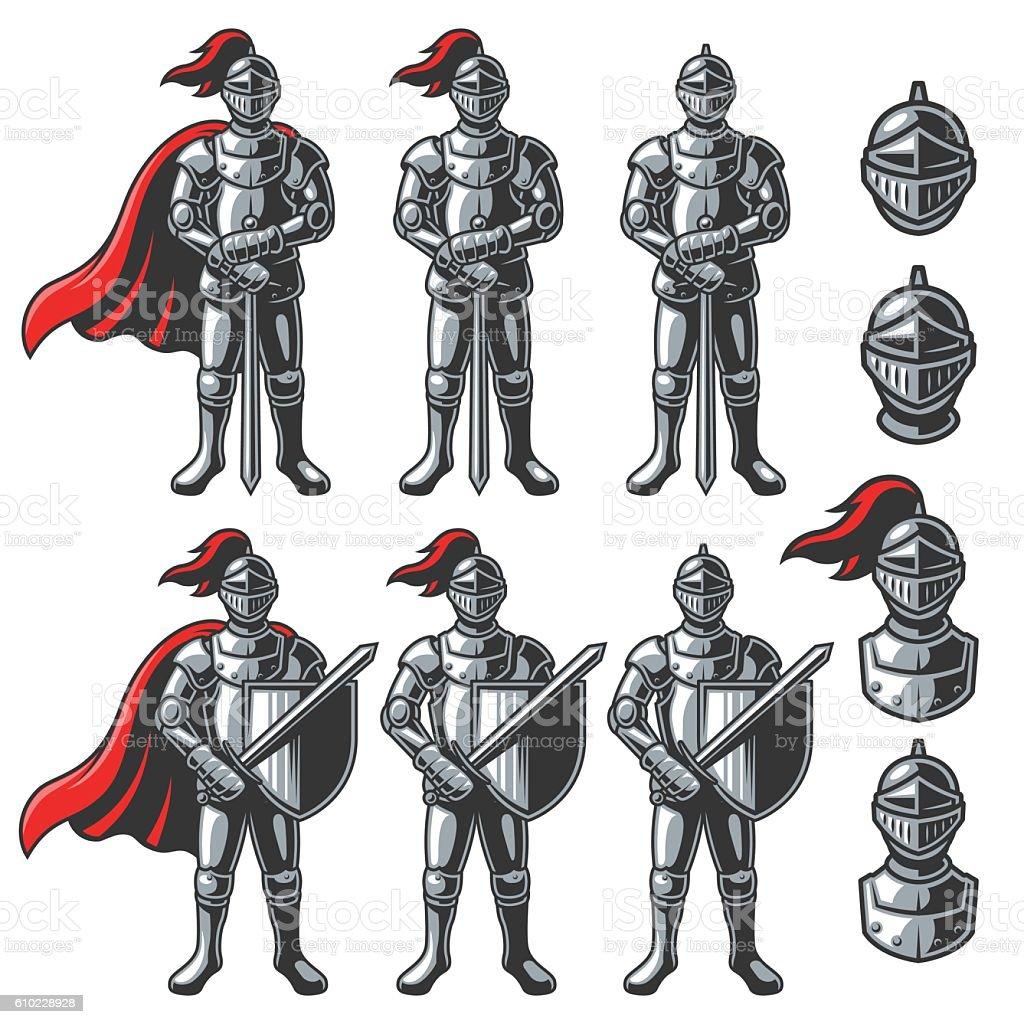 Set of color knights vector art illustration
