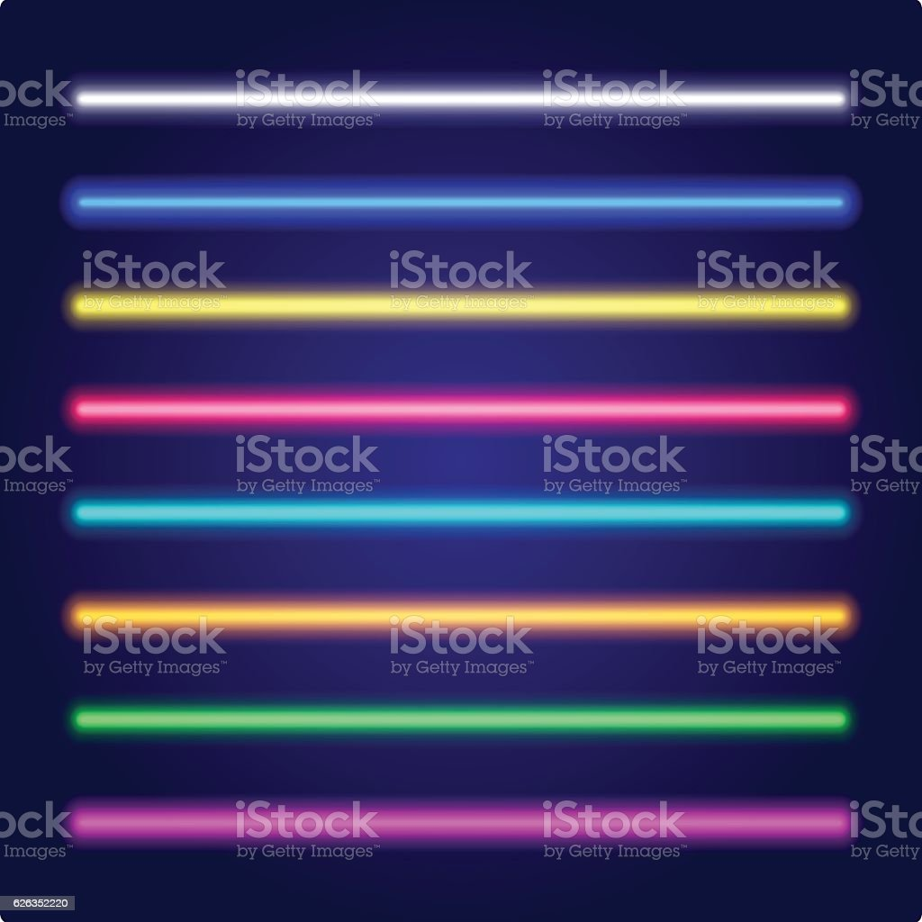 Set of color laser beams. Neon tube light. Vector. vector art illustration