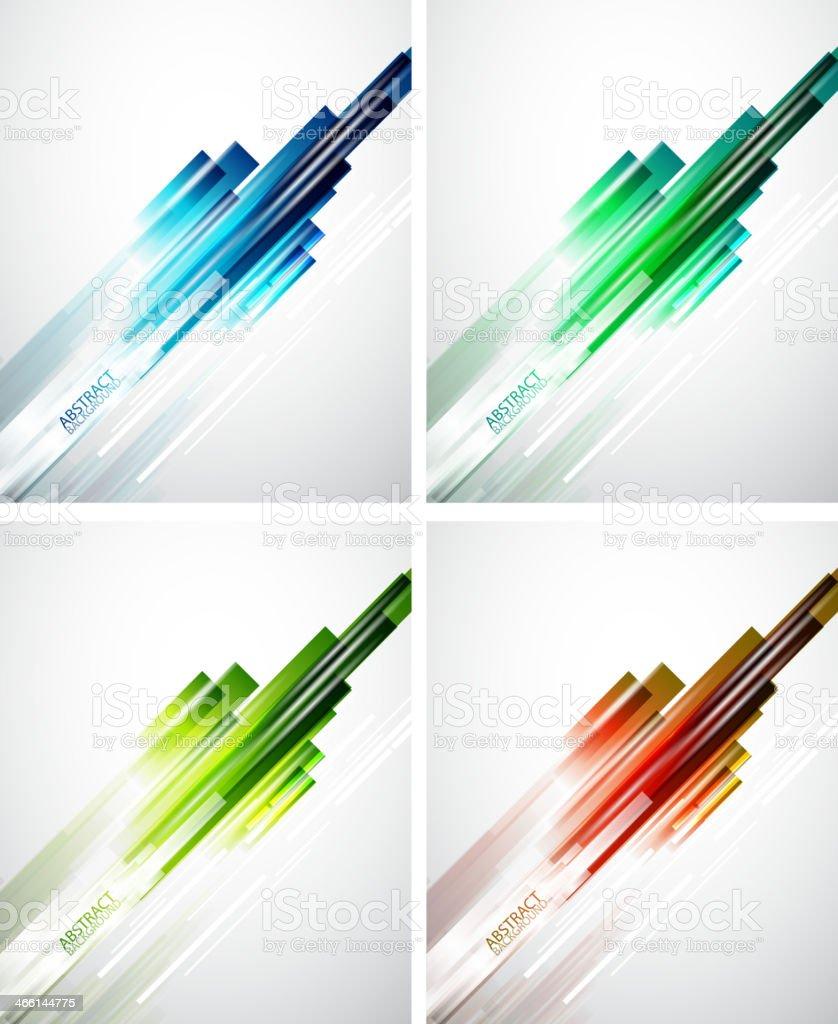 Set of color line background vector art illustration