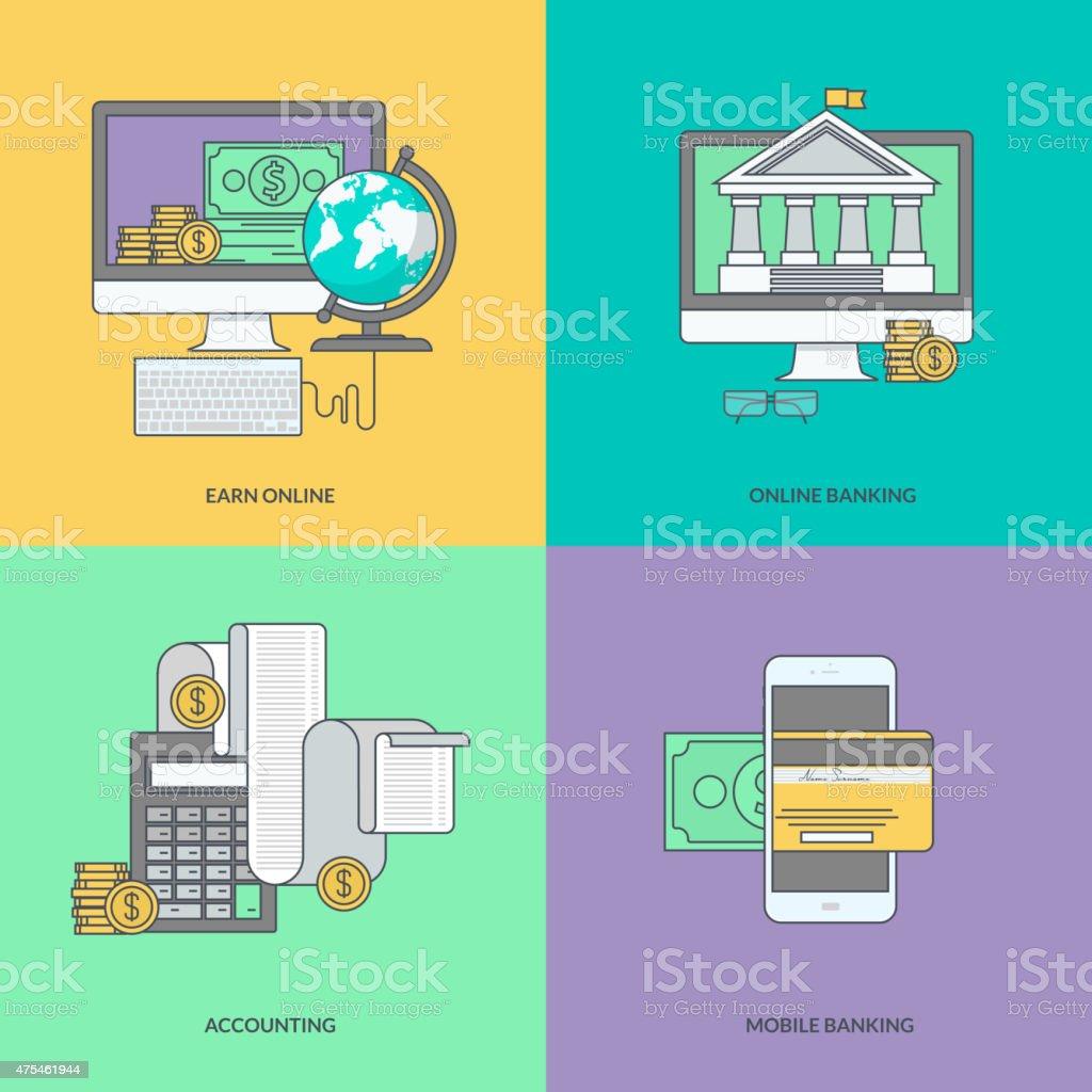 Conjunto de iconos de colores de la banca por internet, pago en línea illustracion libre de derechos libre de derechos