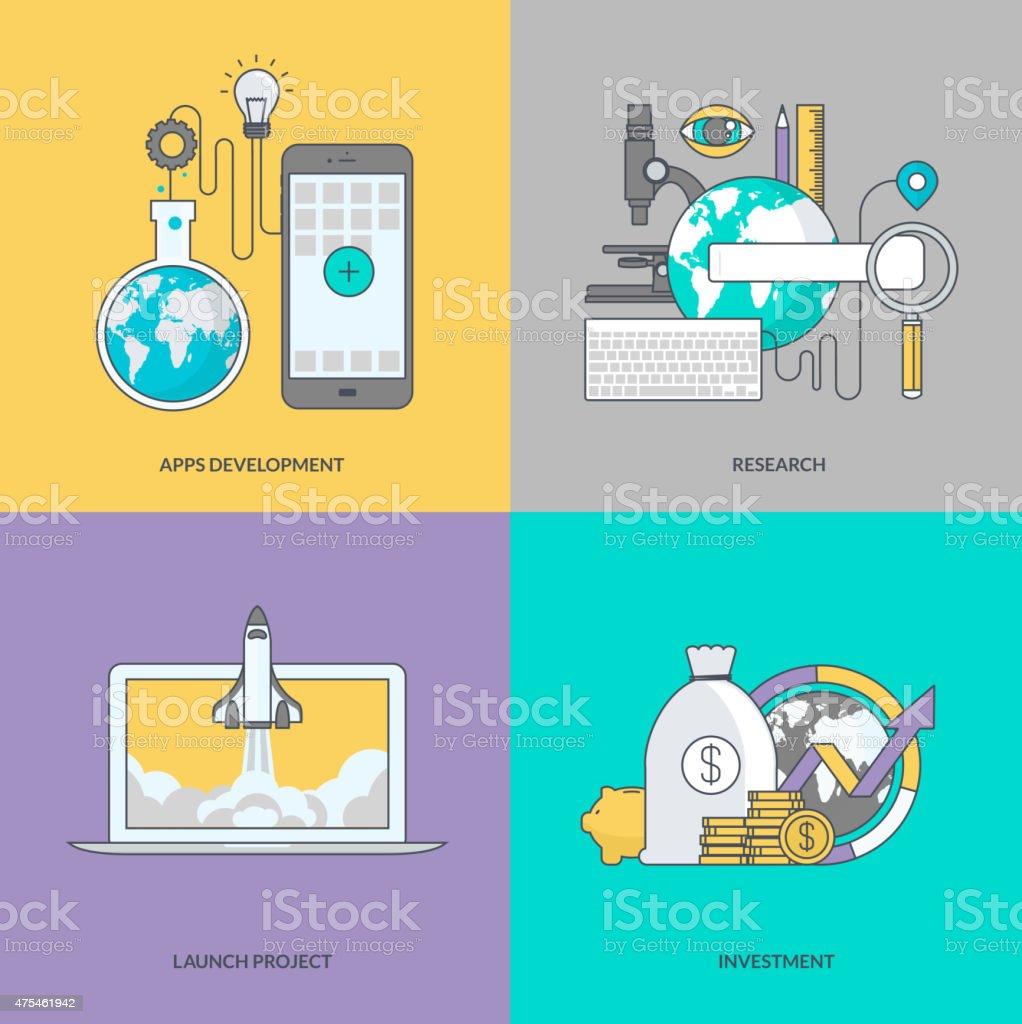 Juego de color de los iconos en el tema de los negocios illustracion libre de derechos libre de derechos