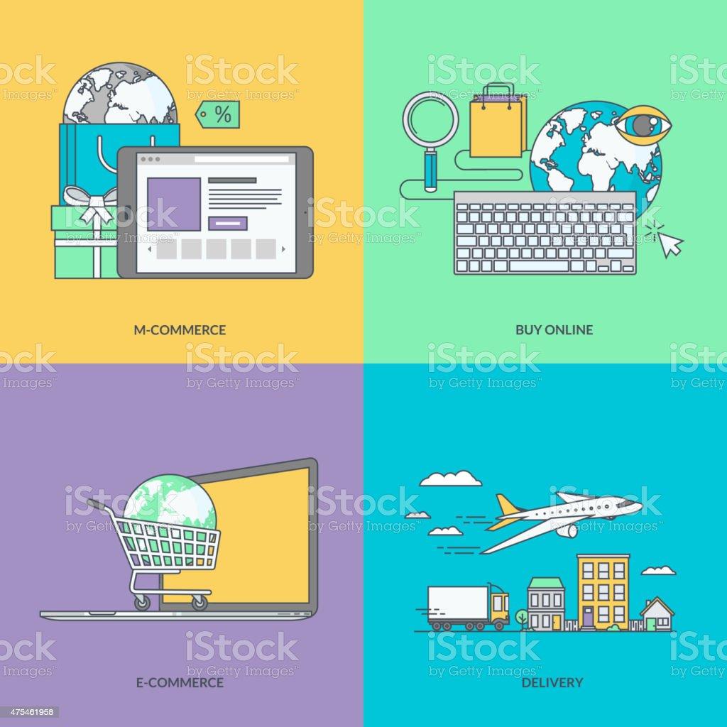 Conjunto de color de los iconos en el tema del comercio electrónico illustracion libre de derechos libre de derechos