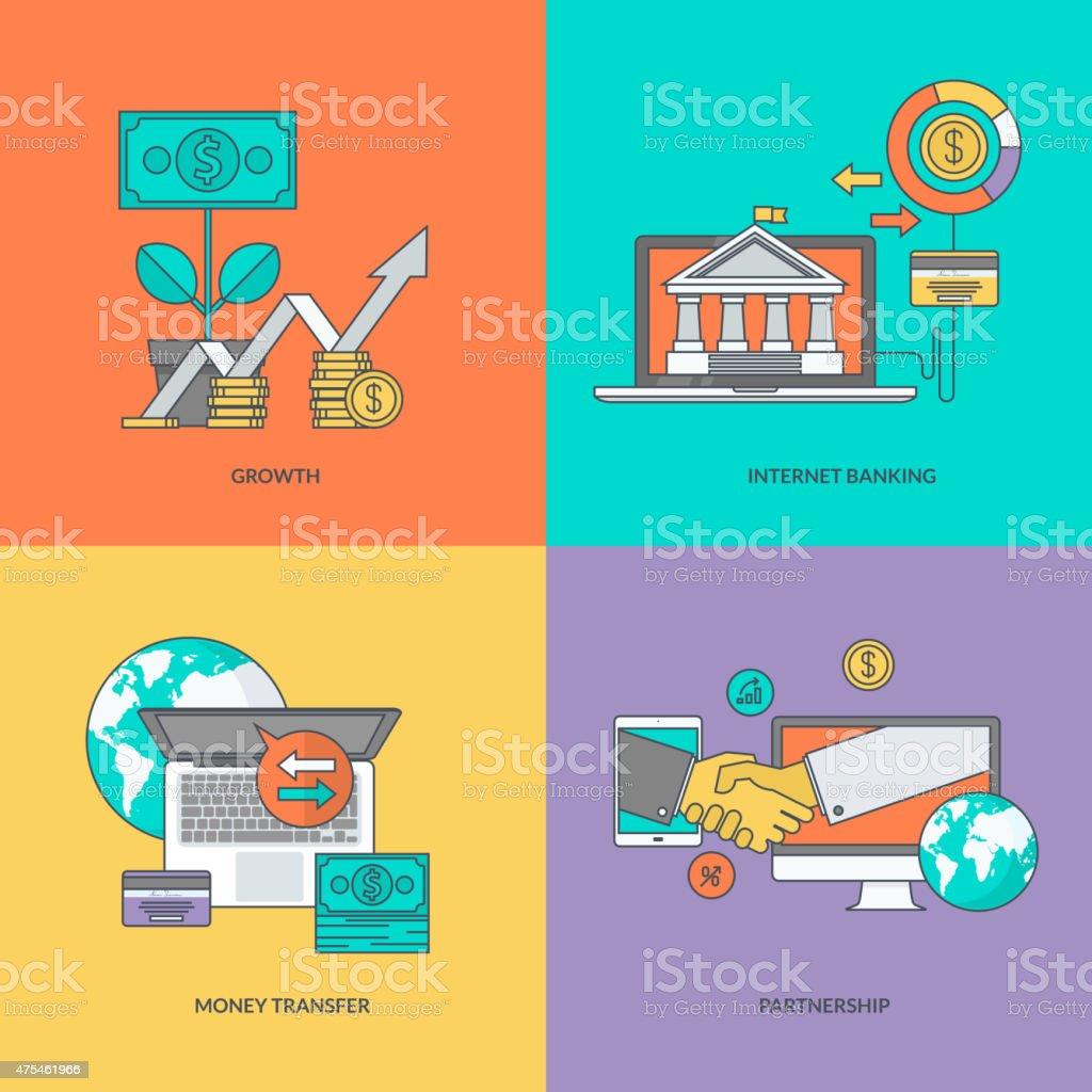 Juego de color de los iconos en el tema de las finanzas illustracion libre de derechos libre de derechos