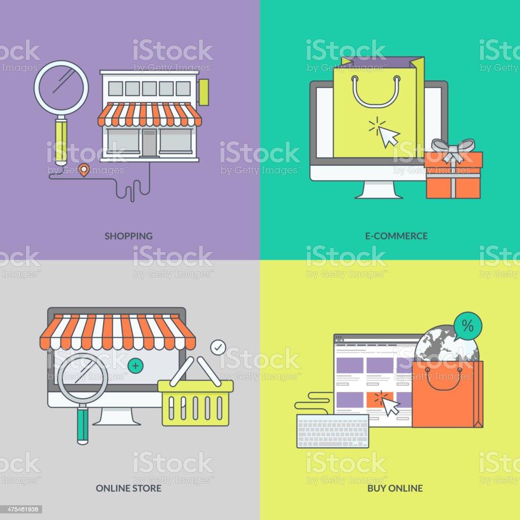Juego de color de los iconos en el tema de las compras en línea illustracion libre de derechos libre de derechos