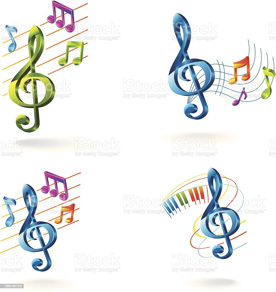 Set of color music icons. royalty-free stock vector art
