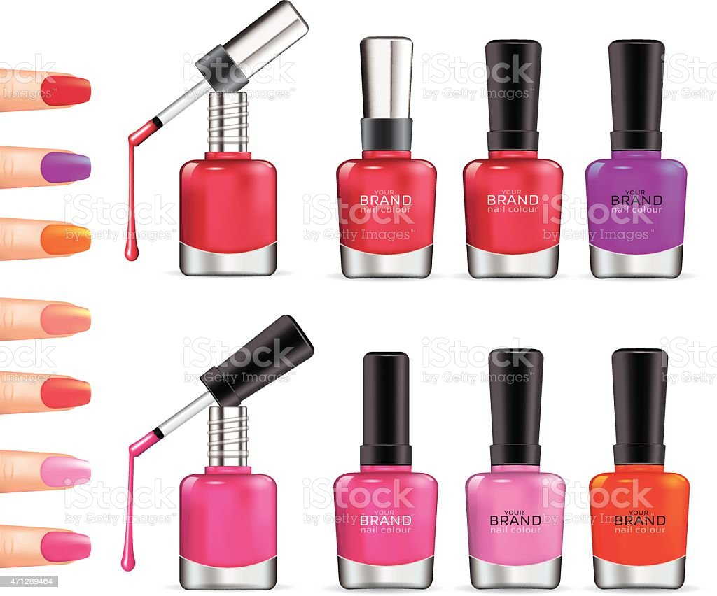Set of color nail polish. vector art illustration