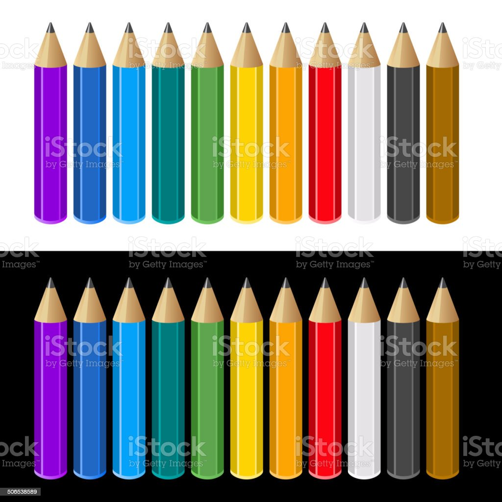 Set of Color Pencils on White and Black Background. Vector royalty-free stock vector art