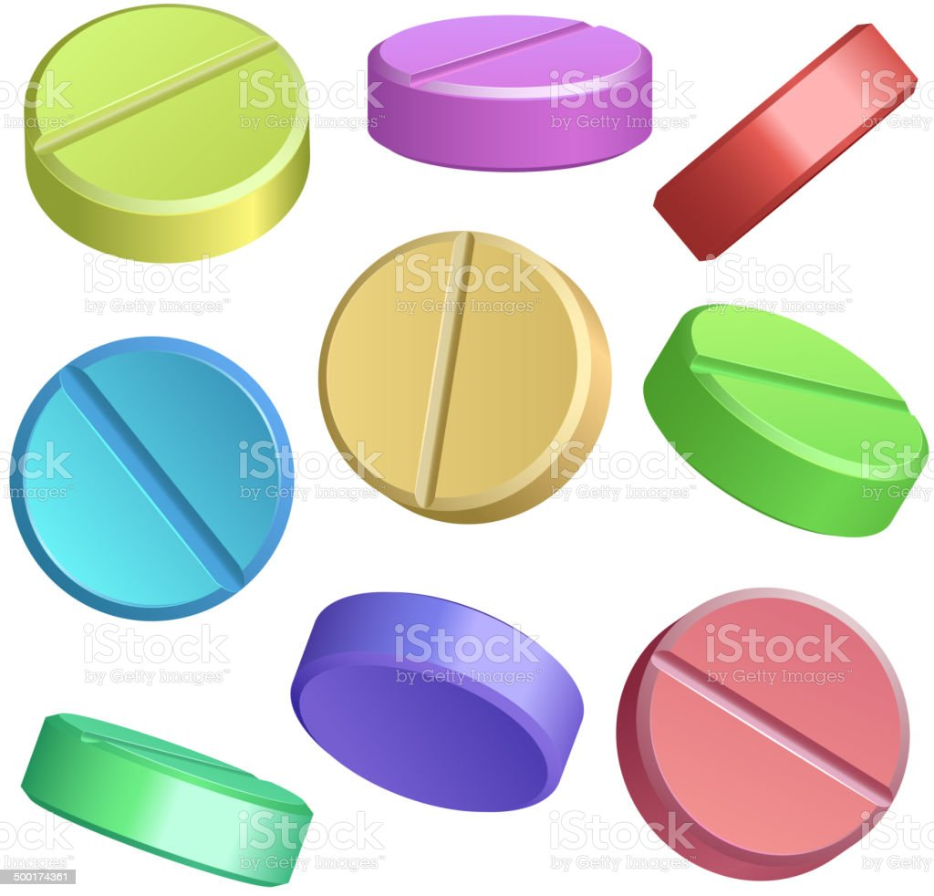 Set of color pill icons royalty-free stock vector art