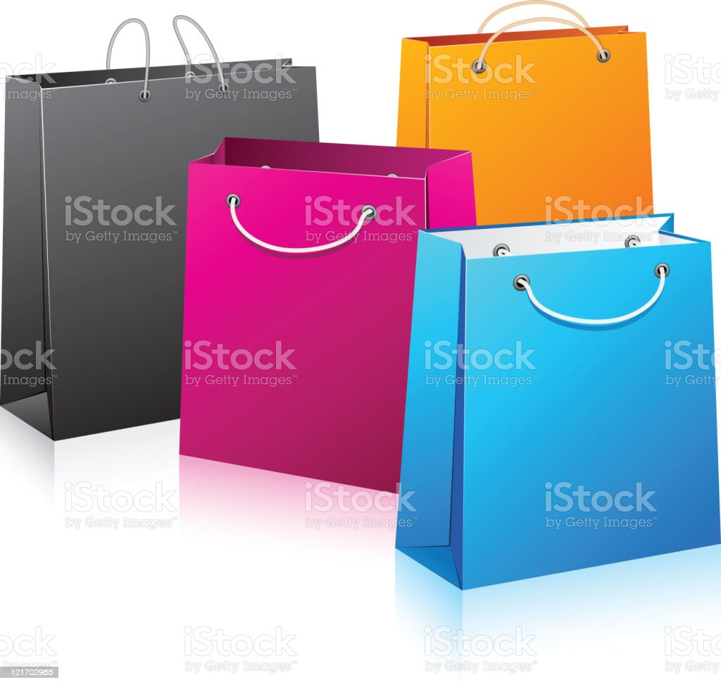 Set of color shopping bags. vector art illustration