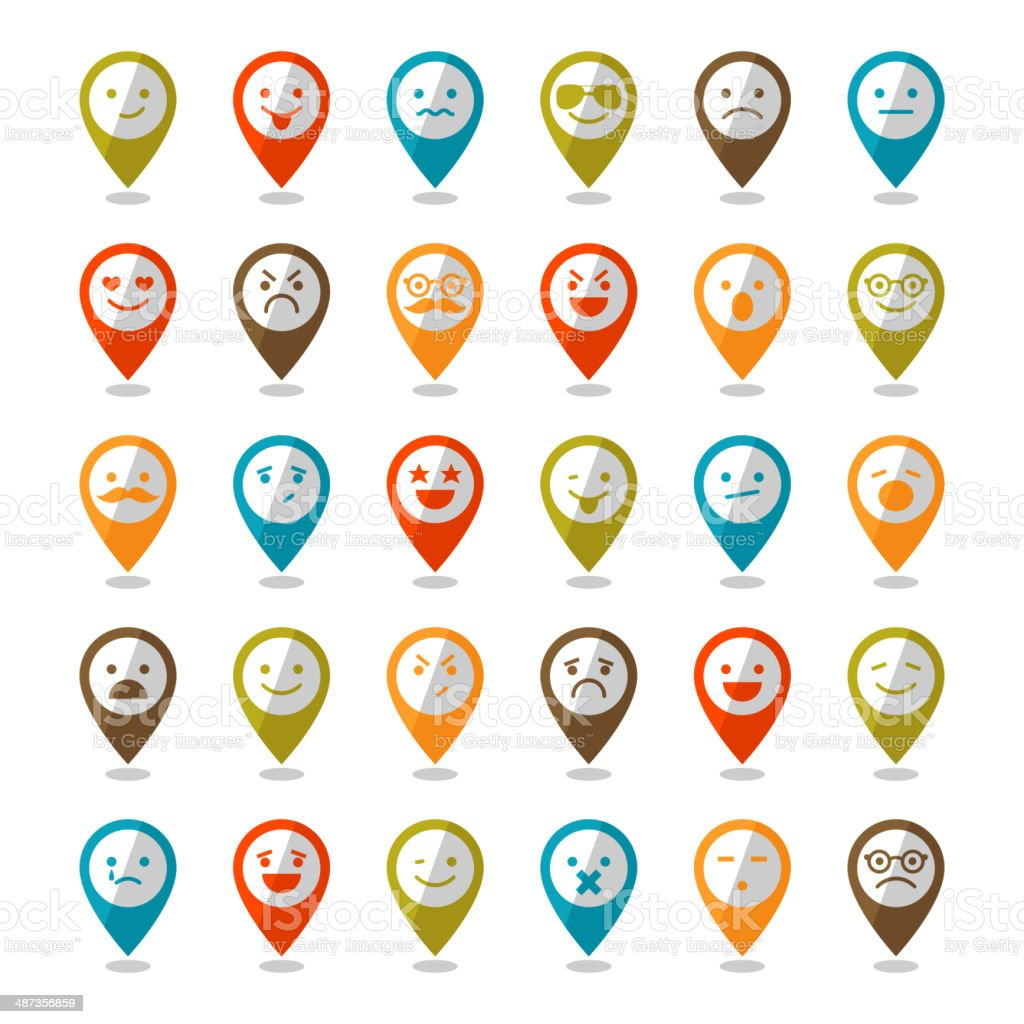 Set of color smiley icons, mapping pins vector art illustration