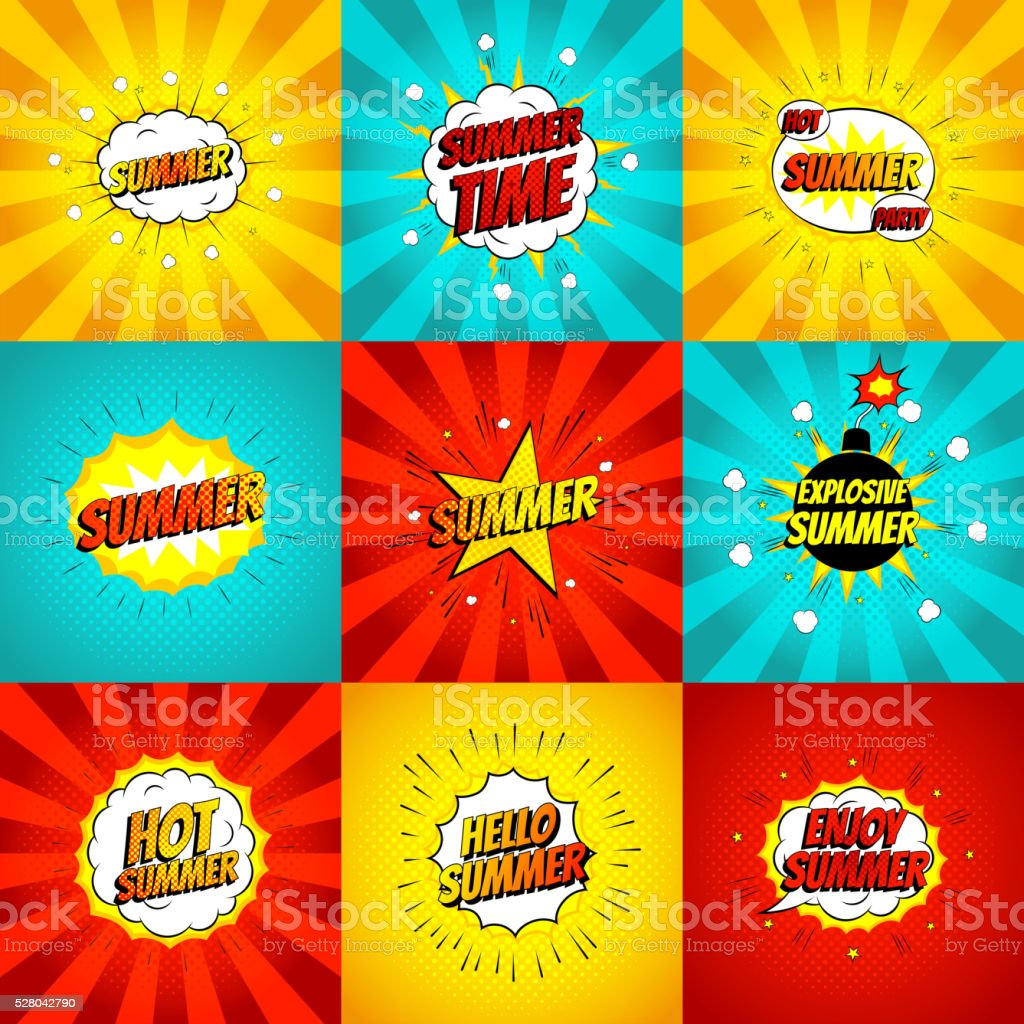 Set of color summer banners in pop art style royalty-free stock vector art