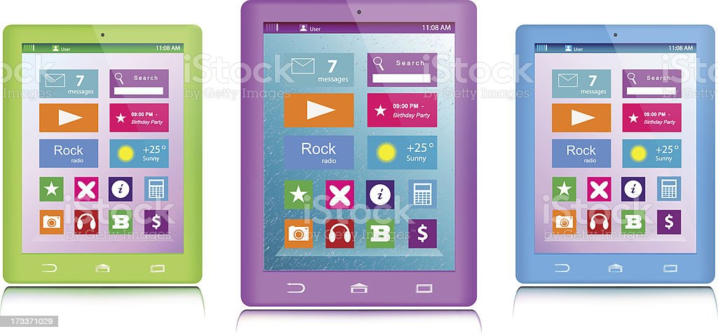 Set of color tablet computers royalty-free stock vector art