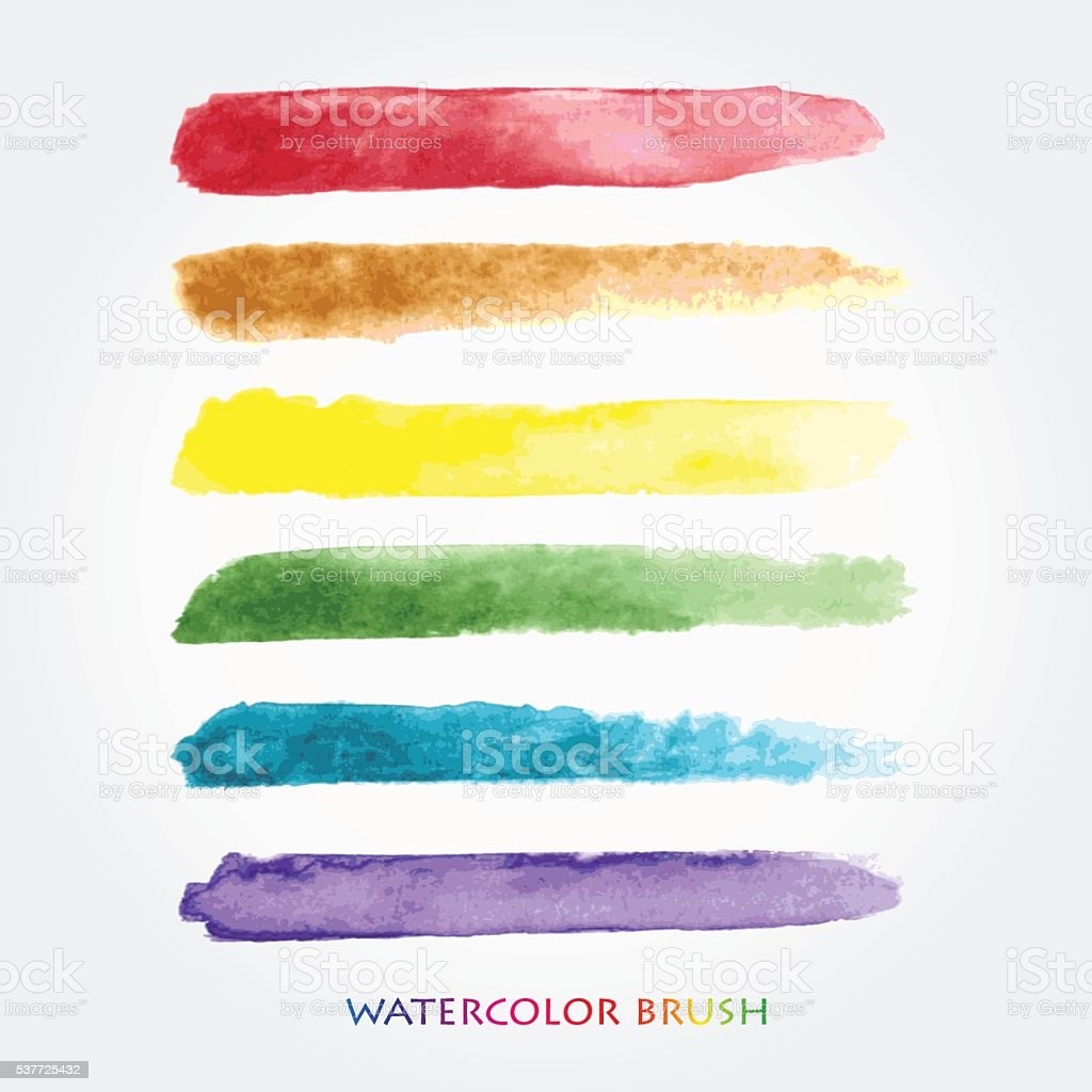 Set of colored brush strokes created with watercolors. vector art illustration
