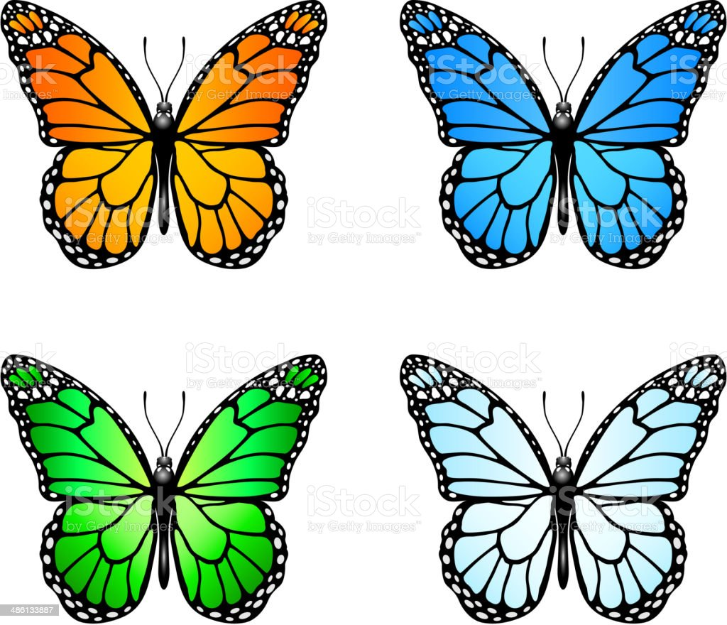 Set of colored butterflies vector art illustration