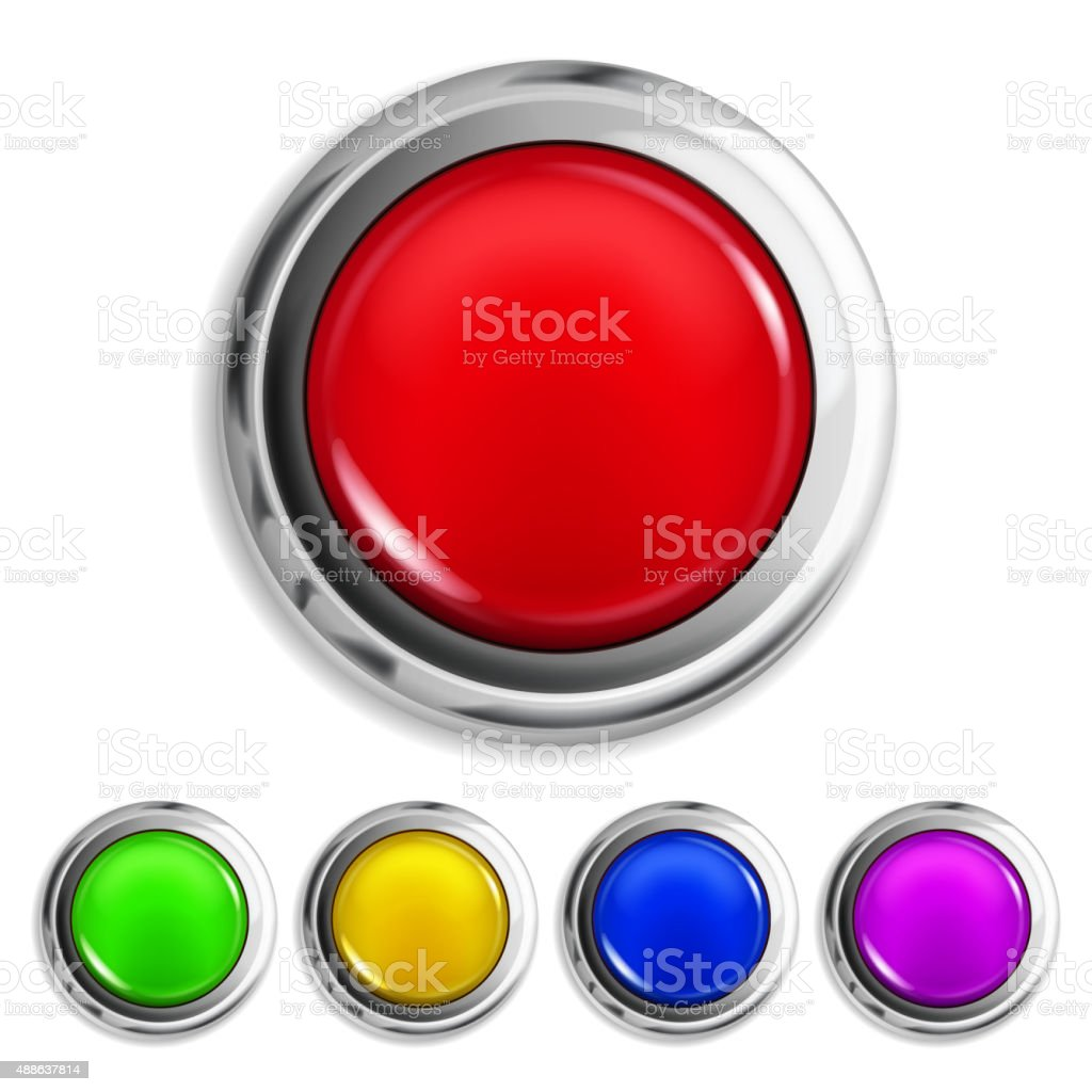 Set of colored buttons vector art illustration