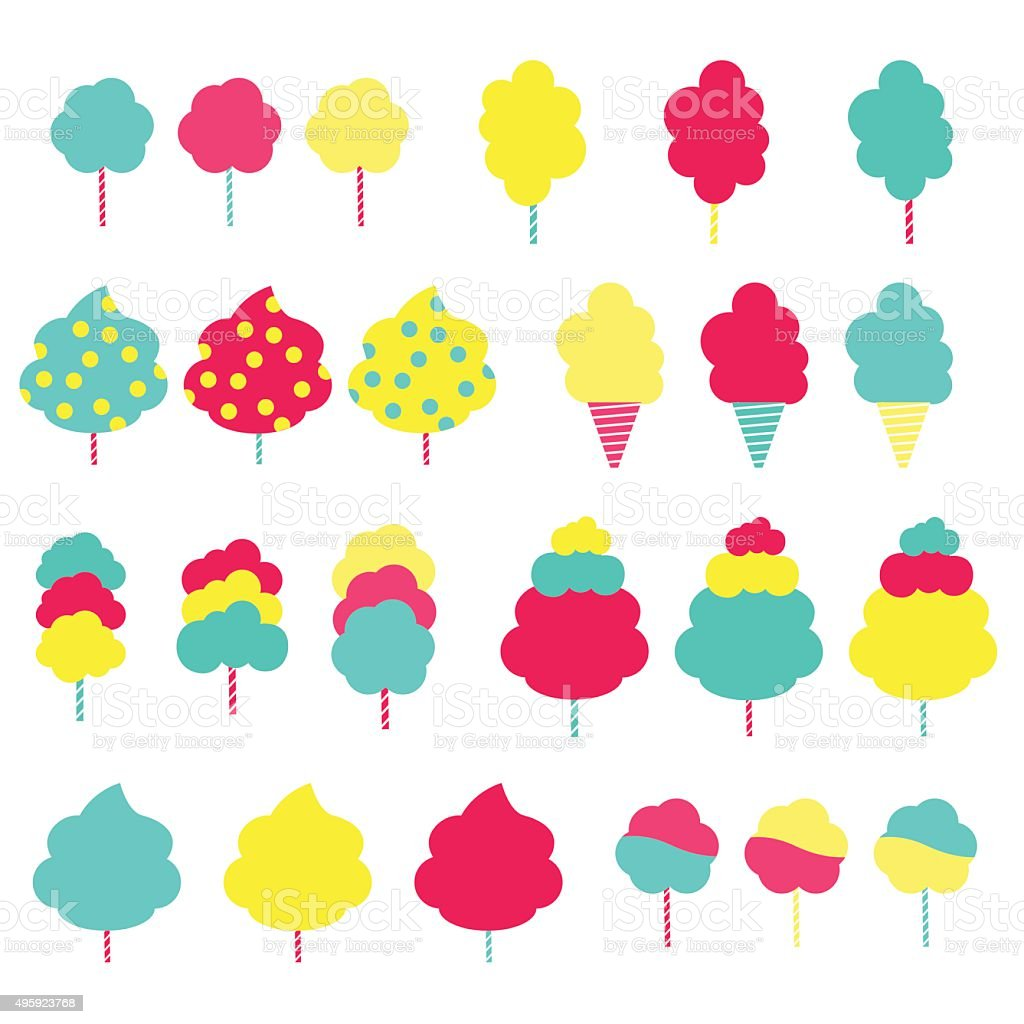 Set of colored candy cottons vector art illustration