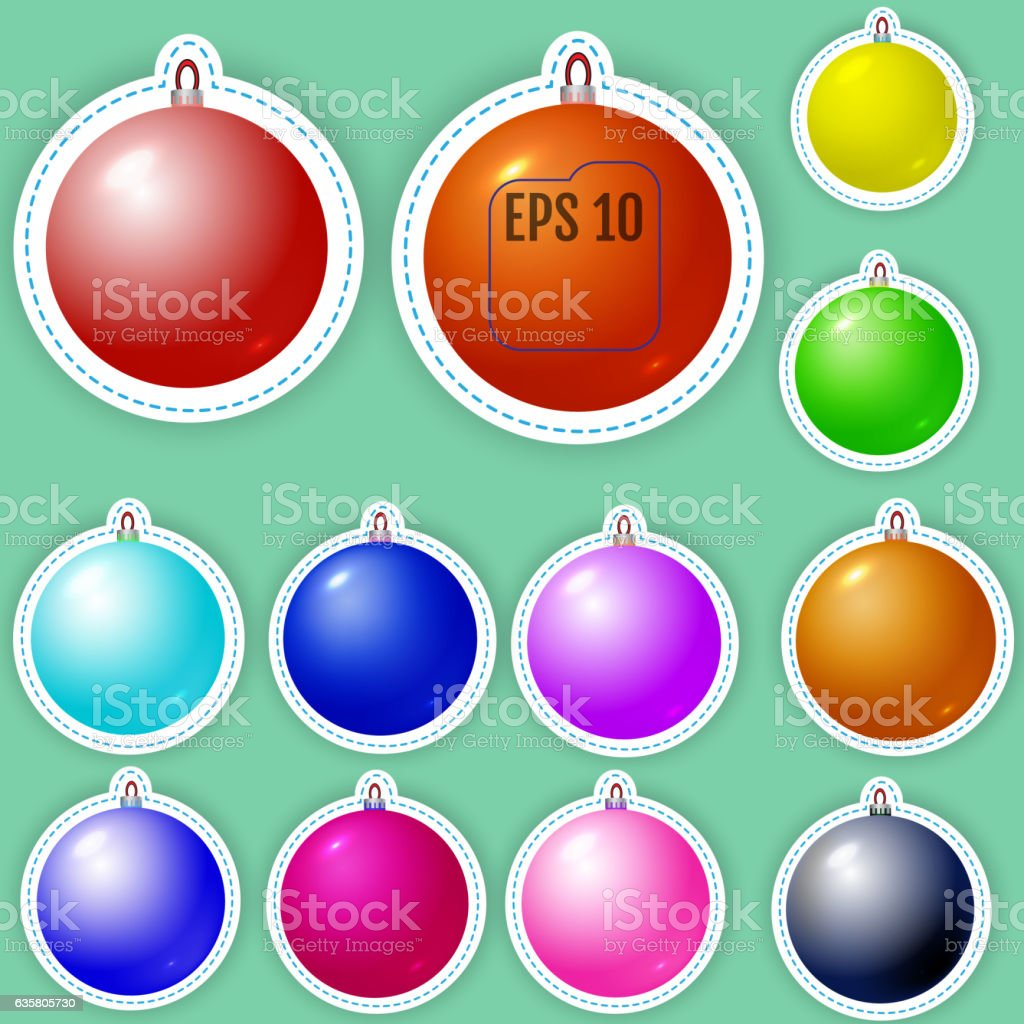 Set of colored christmas balls patch badges vector art illustration