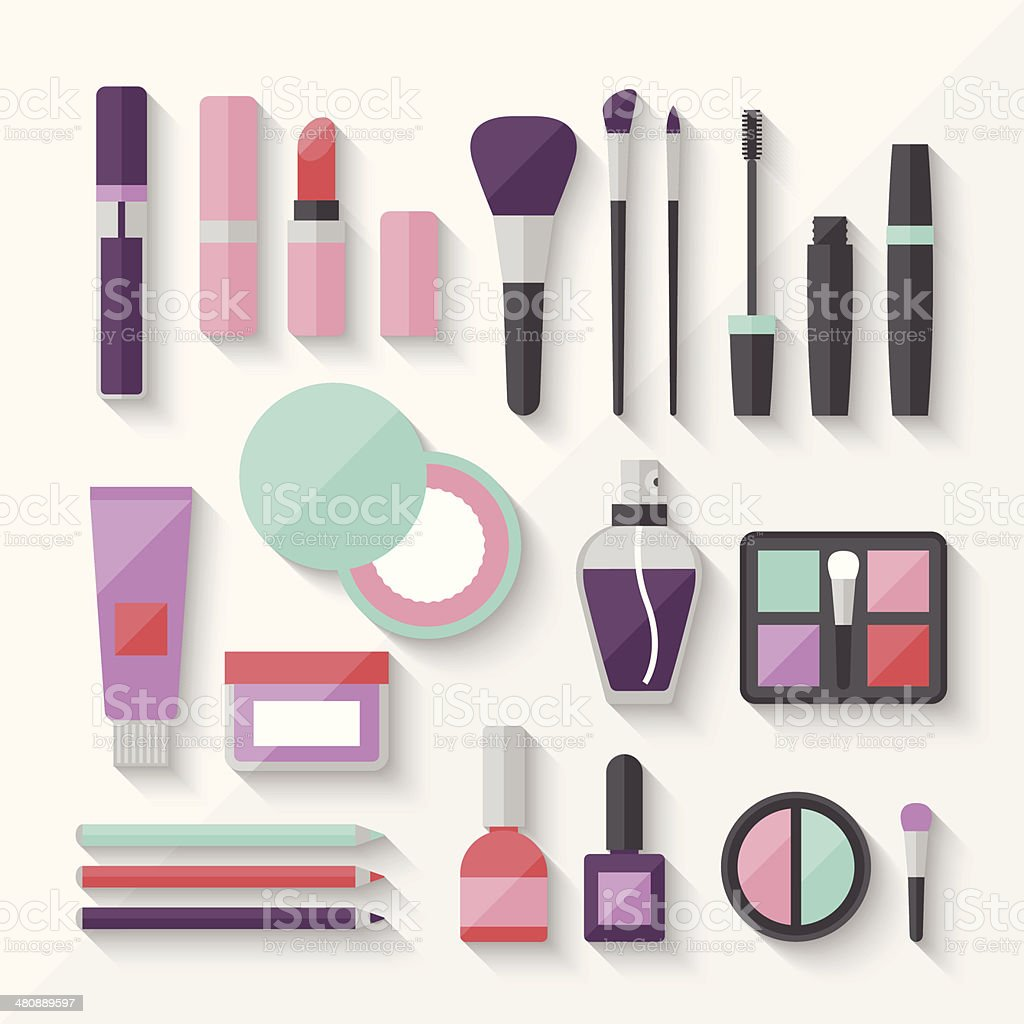 Set of colored cosmetics icons in flat style. vector art illustration