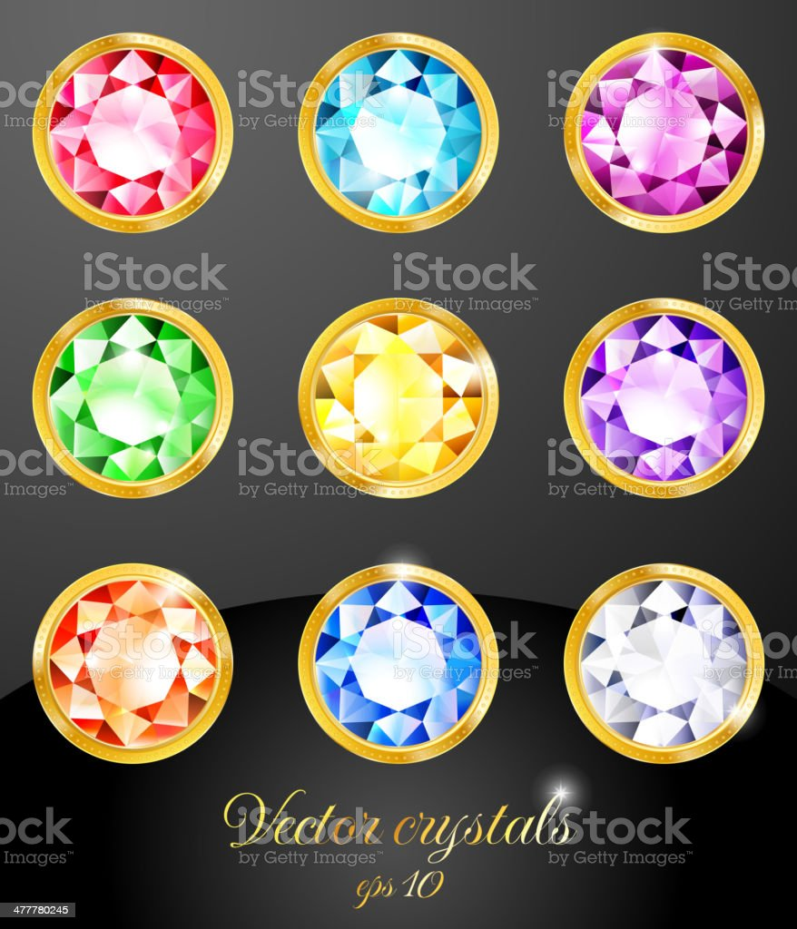Set of colored crystals royalty-free stock vector art