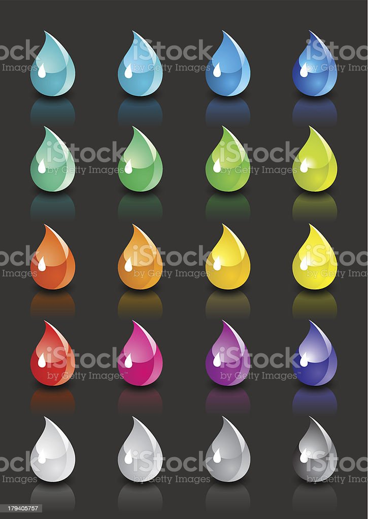 Set of colored drops with reflection on black background royalty-free stock vector art