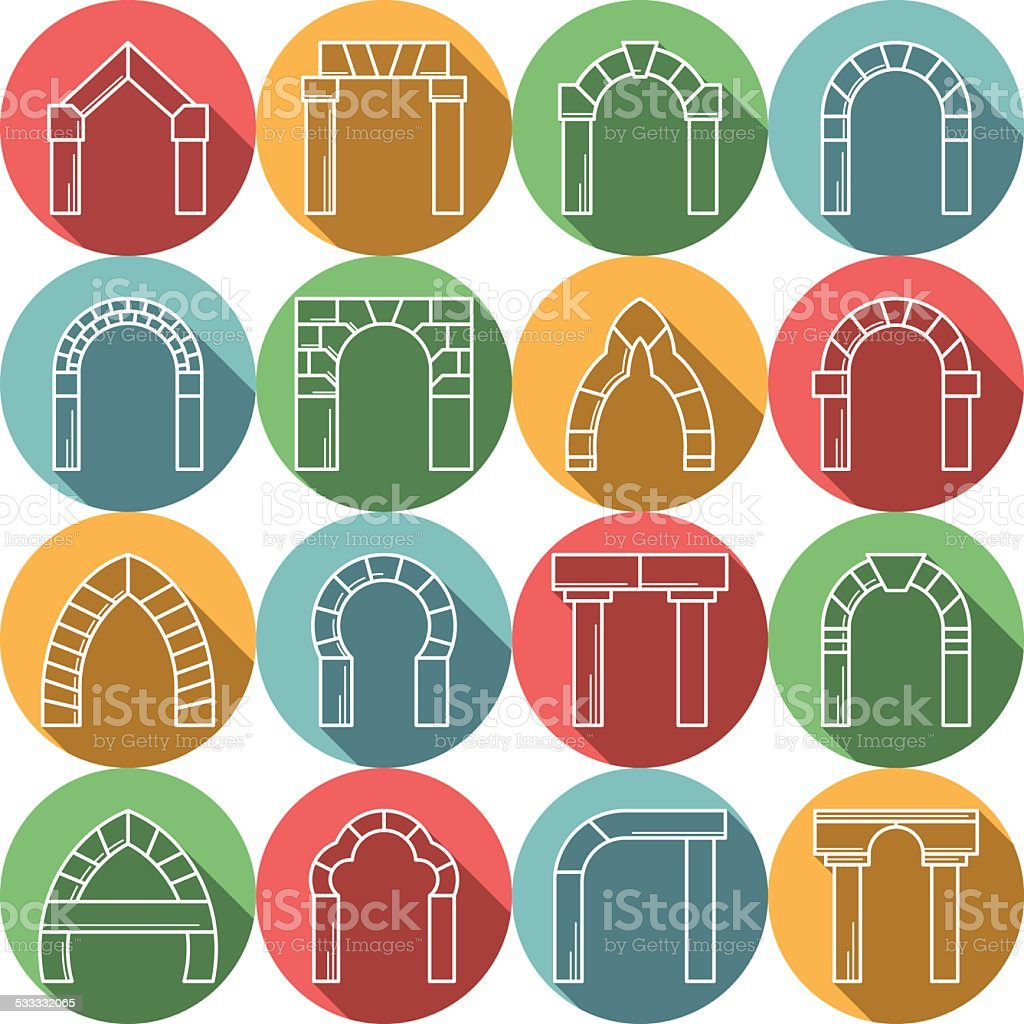 Set of colored flat vector icons for archway vector art illustration