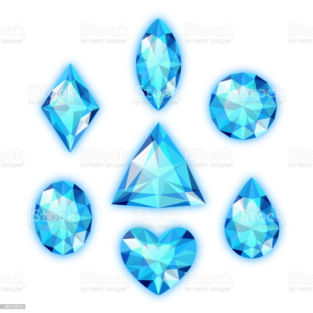 Set of colored gems vector art illustration
