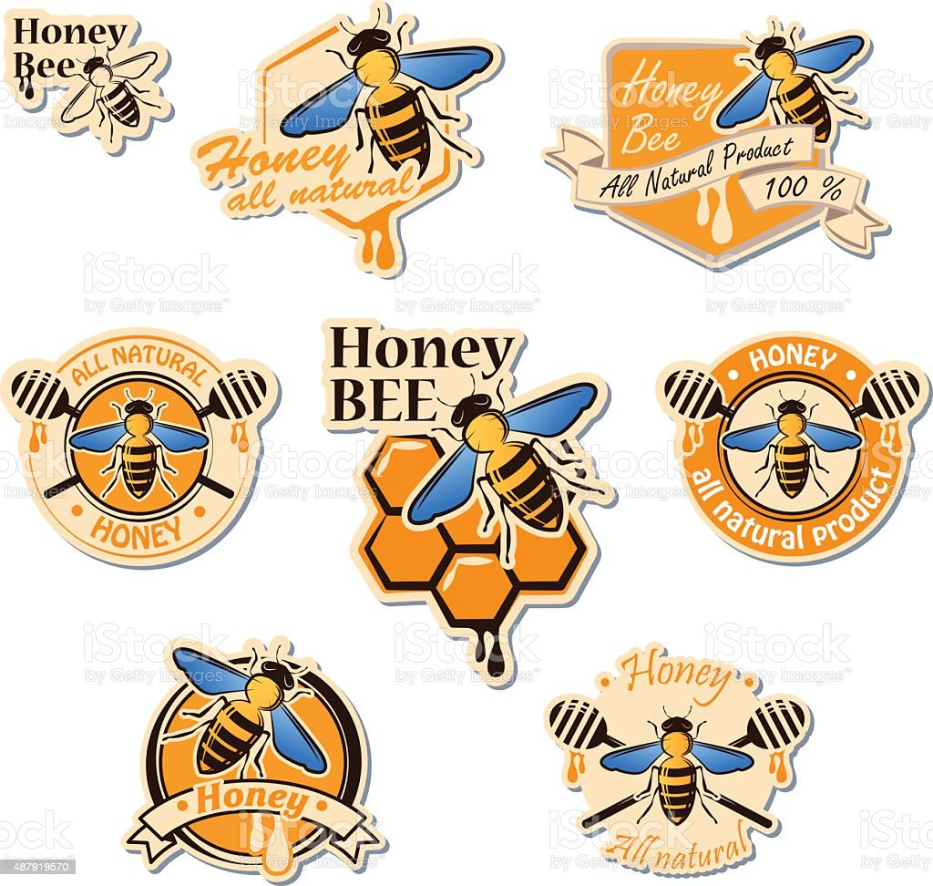 Set of colored honey logos, labels, badges and design elements vector art illustration