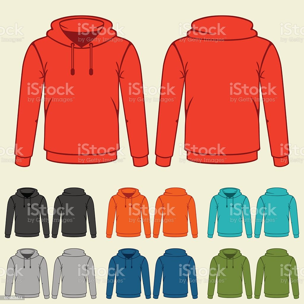 Set of colored hoodies templates for men vector art illustration