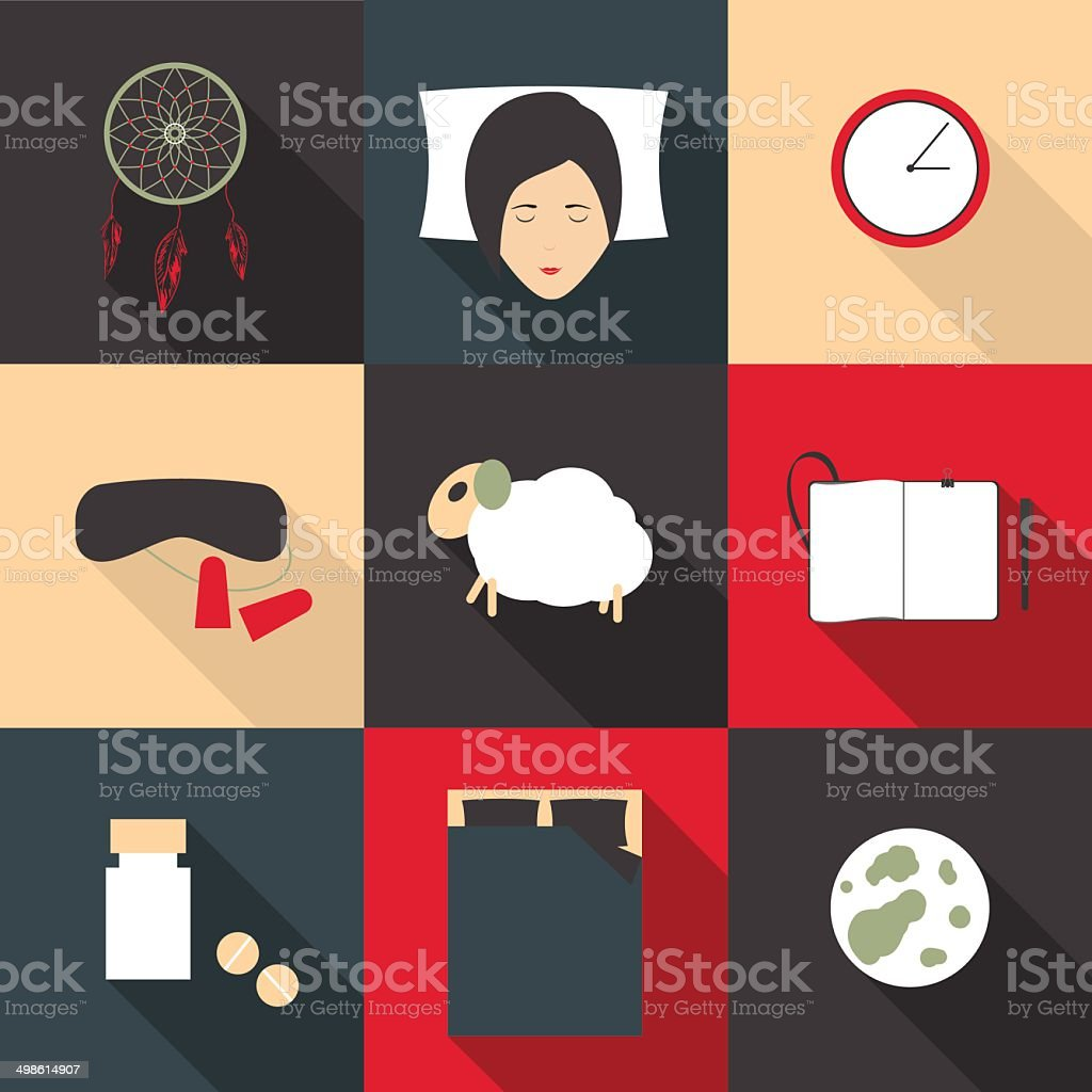 Set of colored icons deep sleep in a flat style vector art illustration