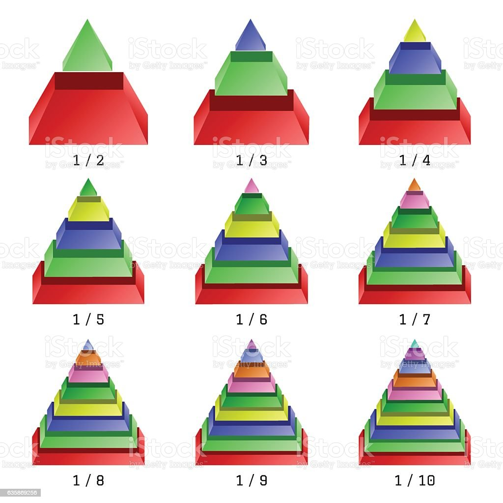 Set of colored isometry pyramid charts. Business data, colorful elements vector art illustration