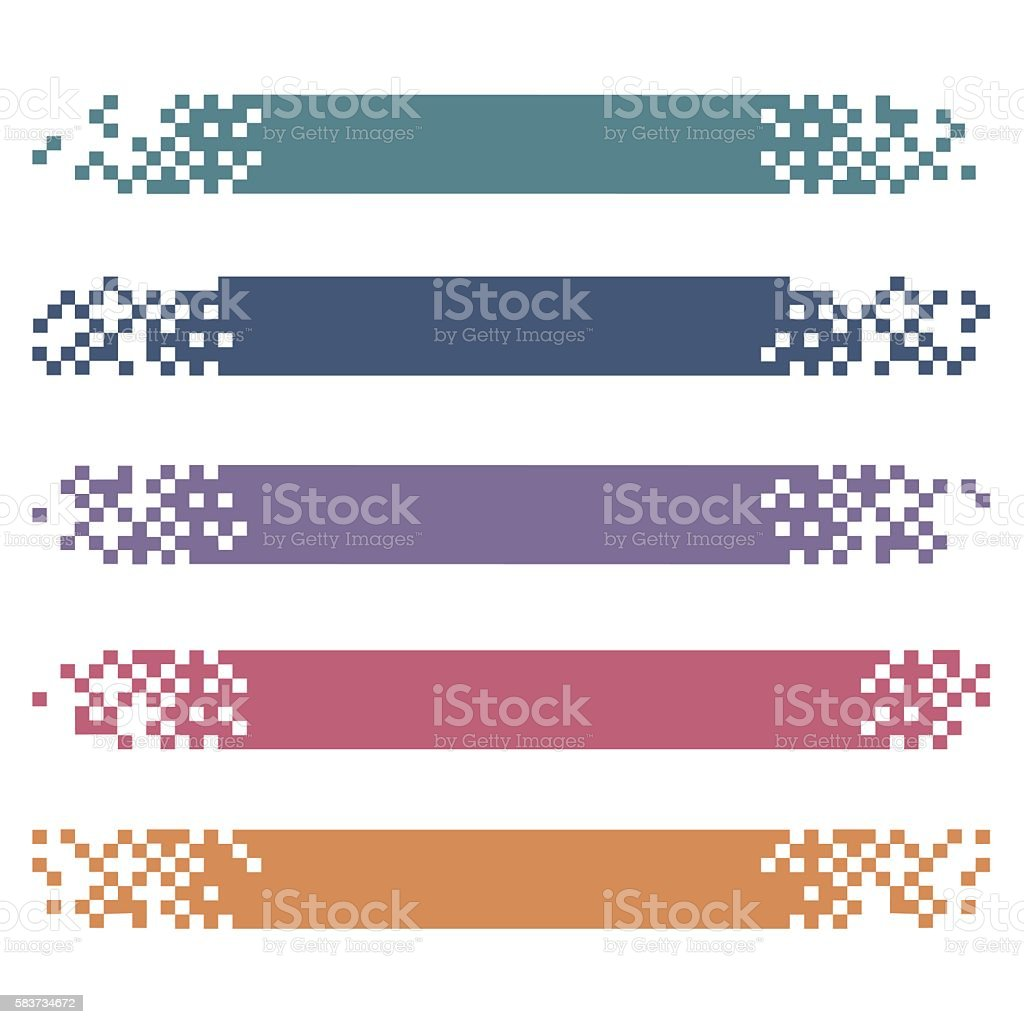 Set of colored modern pixel banners for headers vector art illustration