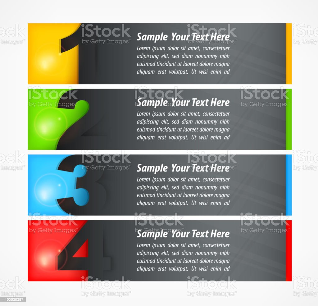 Set of colored number banners royalty-free stock vector art