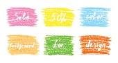 Set of colored pastel chalk design elements