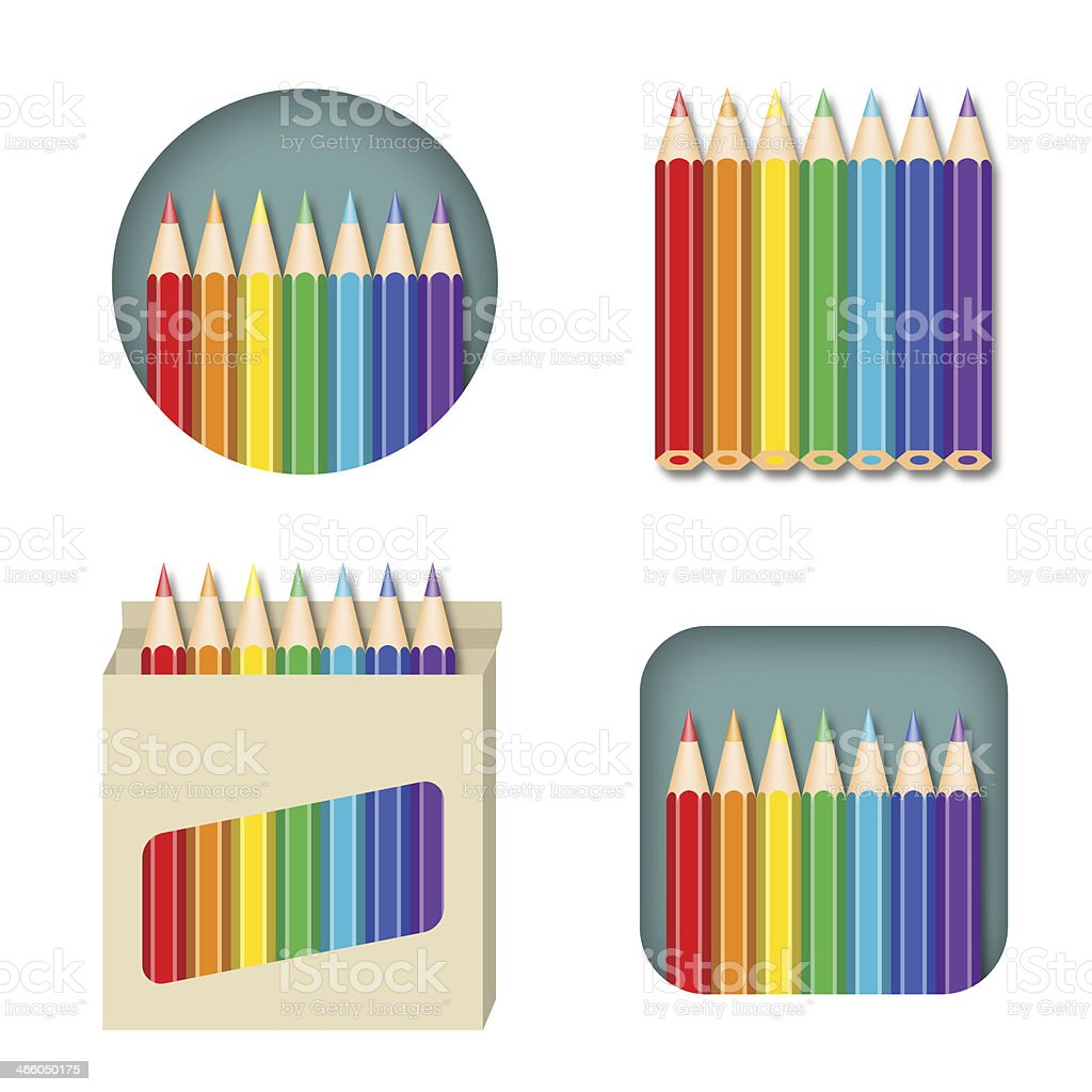 Set Of Colored Pencils royalty-free stock vector art