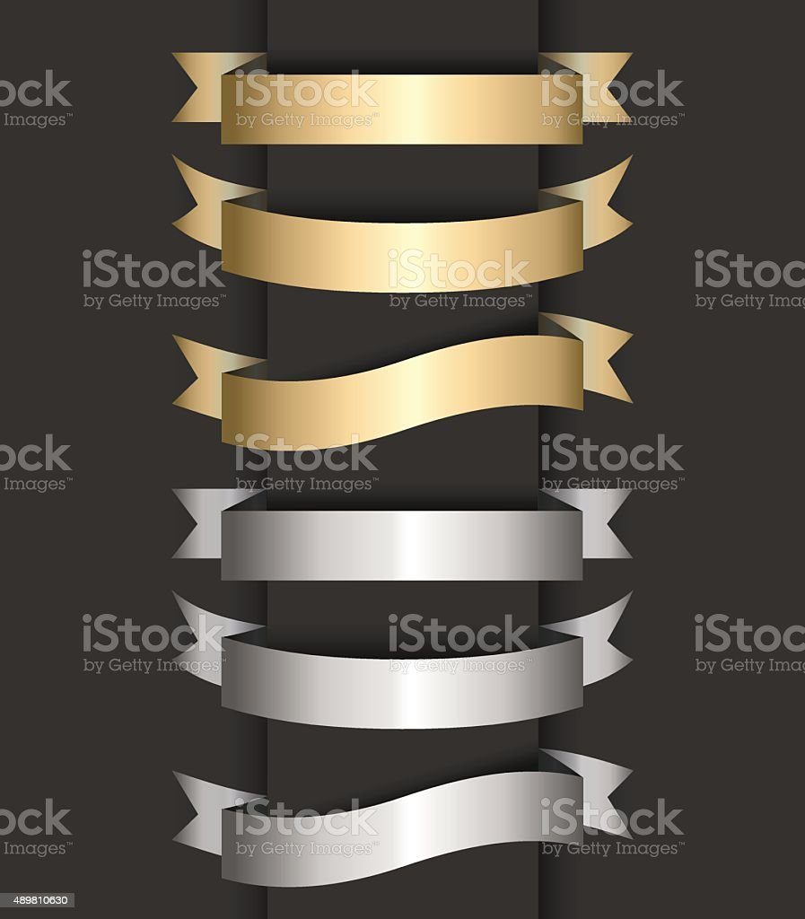 Set of colored ribbon banners vector art illustration