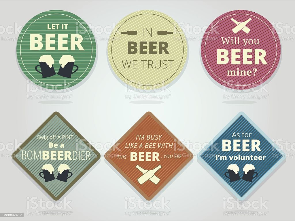Set Of Colored Round and Square Ready Beer Coaster vector art illustration