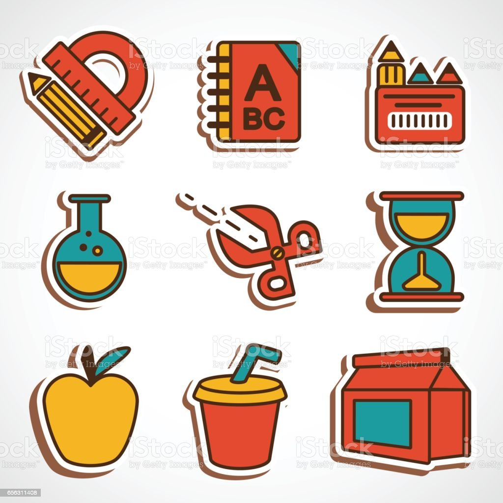 A set of colored school icons vector art illustration