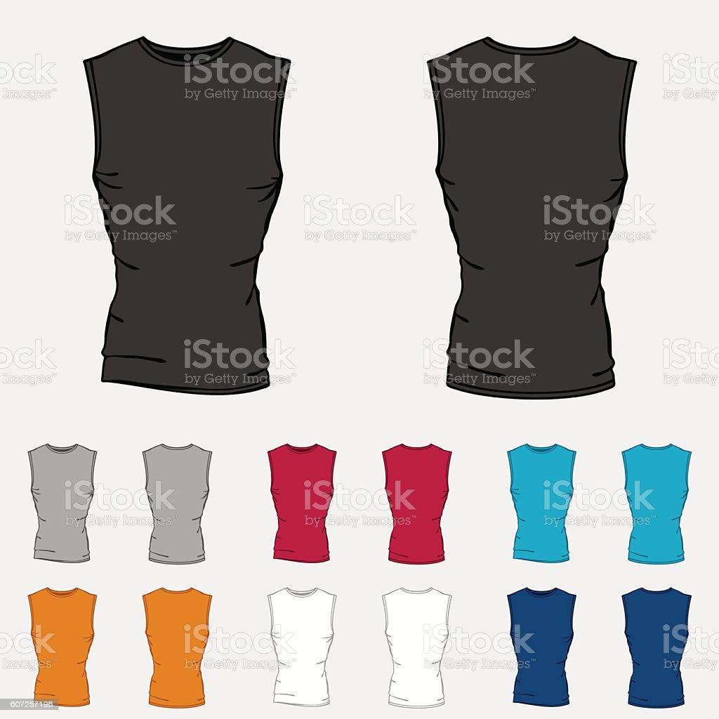 Set of colored sleeveless shirts templates for men vector art illustration