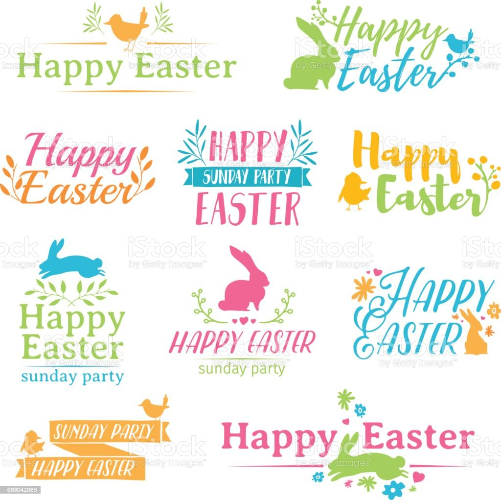 A set of colored symbol for Easter. Badges for the spring holiday of Easter. The design of label with a decor of flower, plant and rabbit. Vector. vector art illustration