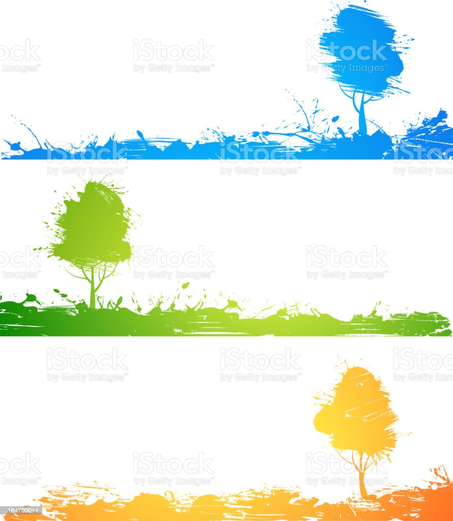 Set of colored trees royalty-free stock vector art