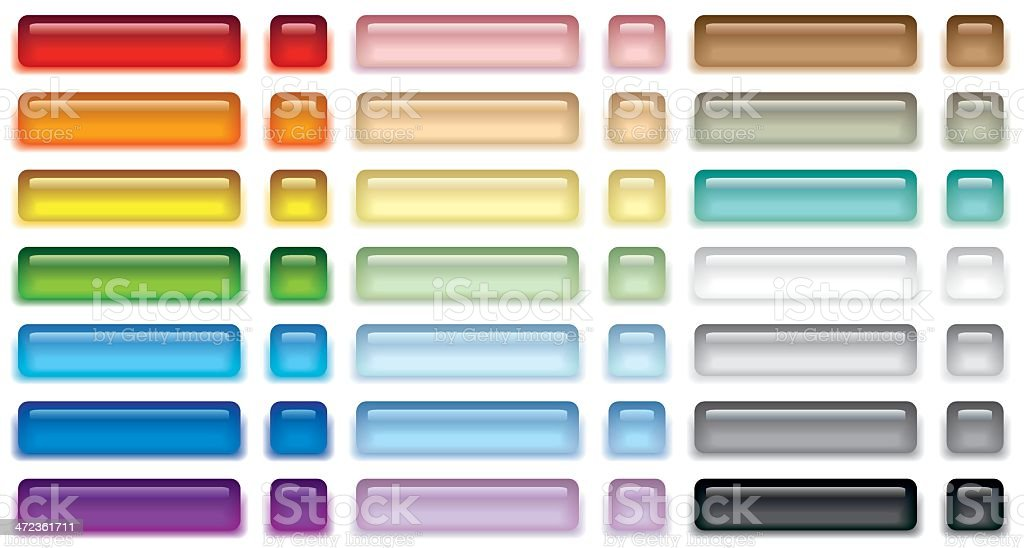 Set of colored web buttons vector art illustration