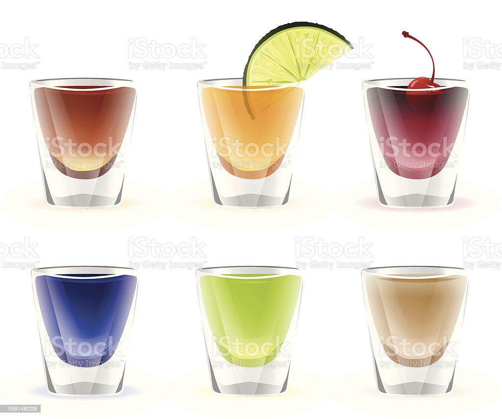 Set of colorful alcohol shots drink vector art illustration