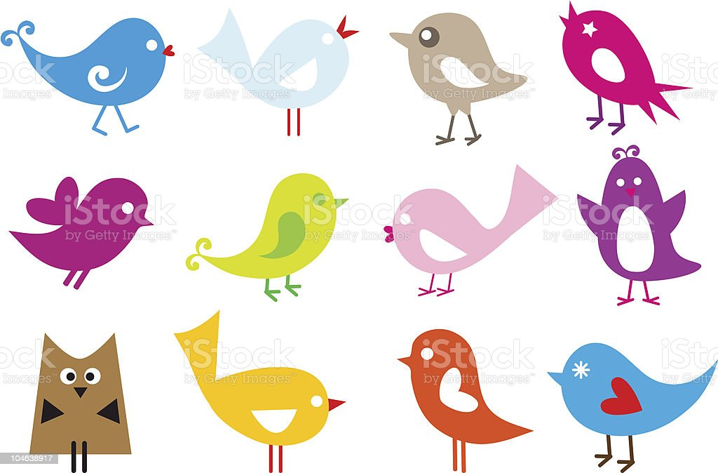 A set of colorful and cheery vector birds royalty-free stock vector art