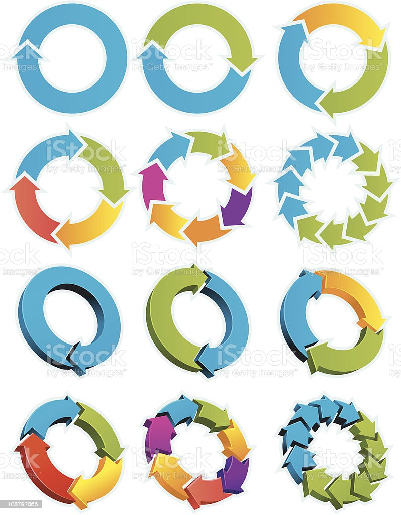 Set of colorful arrow circles on white background vector art illustration