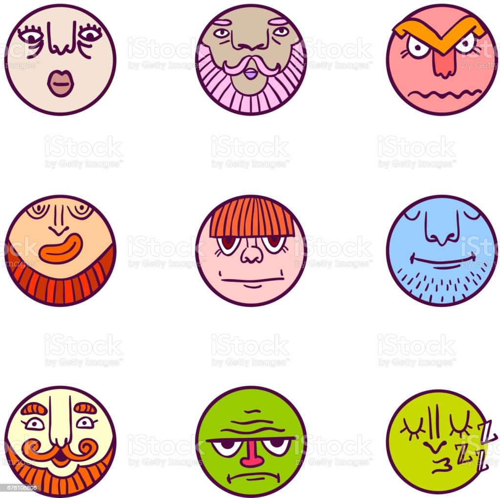 Set of colorful avatar expression icons vector art illustration