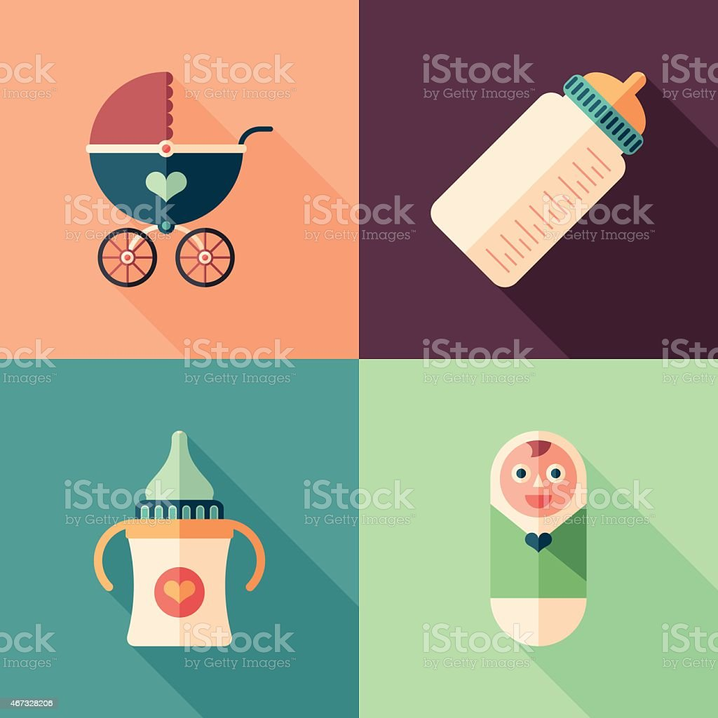 Set of colorful baby flat square icons with long shadows. vector art illustration