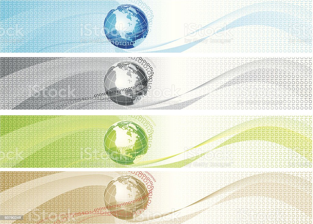 set of colorful banners with globe and binary code royalty-free stock vector art