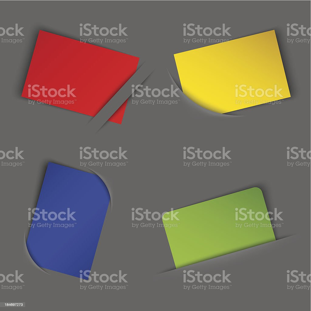 Set of colorful blank labels in your pocket royalty-free stock vector art
