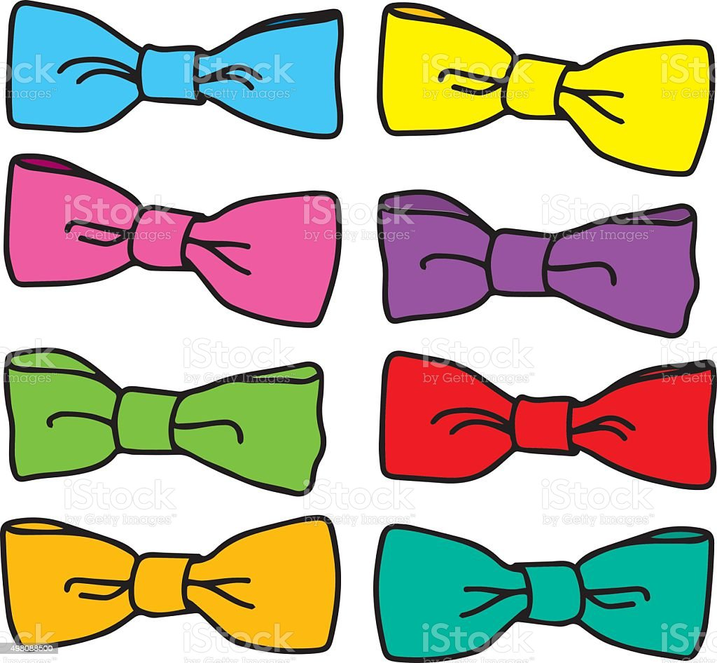 set of colorful bow ties vector art illustration