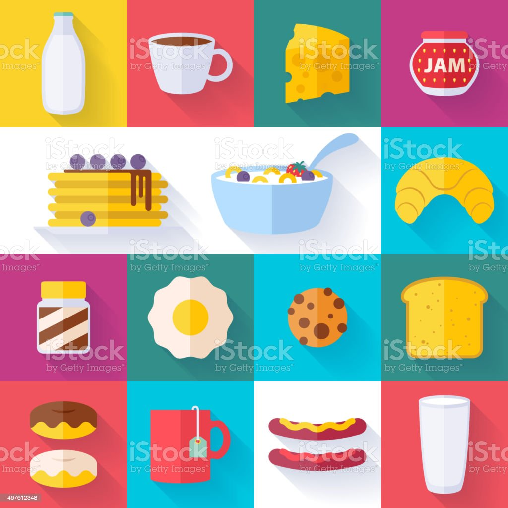 Set of colorful breakfast icons vector art illustration
